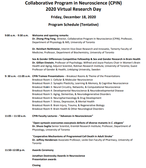 CPIN Virtual Research Day 2020 Program Schedule